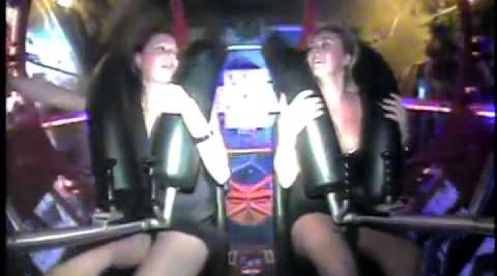 Girl get excited on a slingshot
